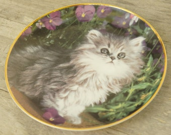 Vintage 90s Cat Print Plate Limited Edition/Collectible China/Shabby Chic