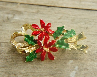 Vintage 80s-90s Christmas Brooch Costume Jewelry
