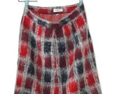 Vintage 50s-60s Fuzzy Plaid Pencil Skirt Secretary Skirt Retro Mod Mid Century