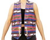 Vintage 90s Women 39 s Tribal Print Southwestern Vest Hippie Boho Cowgirl