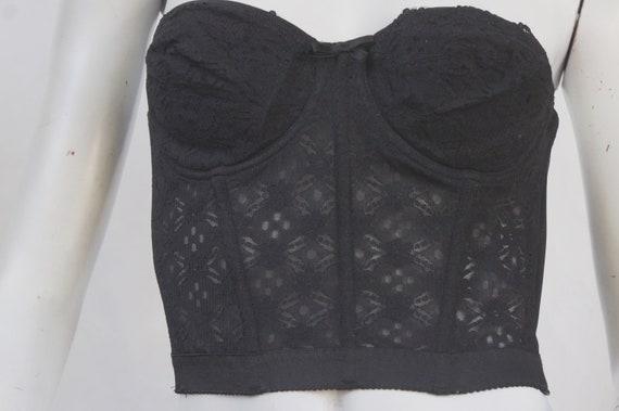 Vintage Black Lace Bustier/Strapless Bra/Lingerie… - image 8
