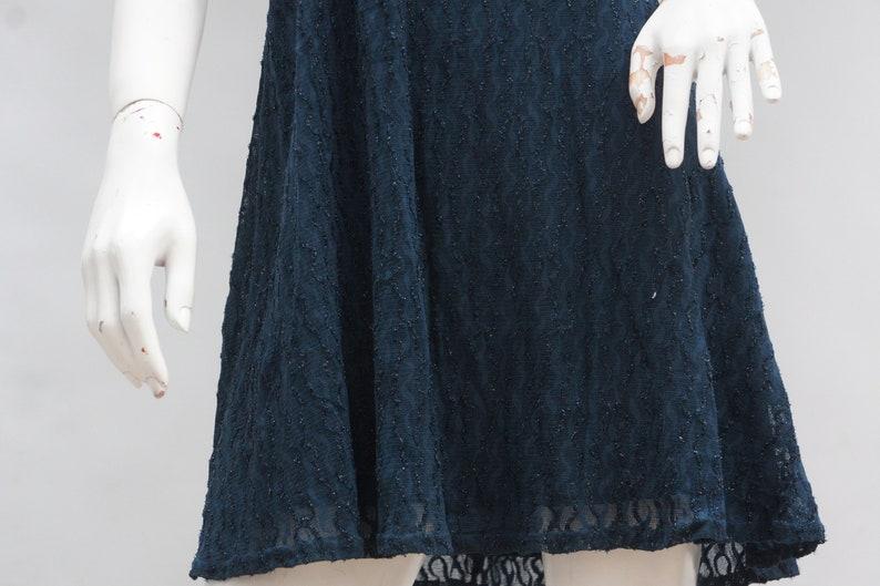 Vintage 90s All That Jazz Blue Knit Glitter Lace  Skater Dress