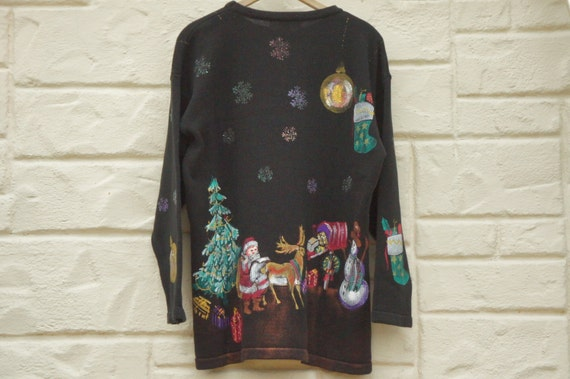 Vintage 90s Handpainted Christmas Sweater /Ugly Sw