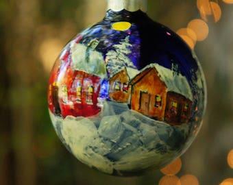 Hand Painted Winter Cabin Scene Rauch Mercury Christmas Ornament