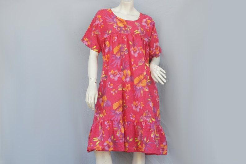 c709a73afc83 Vintage 70s-80s Floral Print Hawaiian Muumuu Dress/House   Etsy