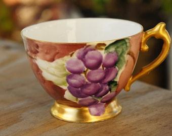 Vintage 30s-40s Handpainted Teacup /Shabby Chic /Afternoon Tea/Bohemian chic/Farmhouse decor