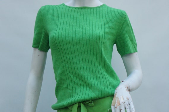 Vintage 70s Apple Green Sweater Top Linea By Lois