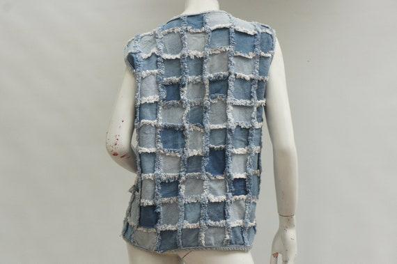 Vintage 70s Ptchwork Denim Vest/Jean Vest/Boho/Hi… - image 3