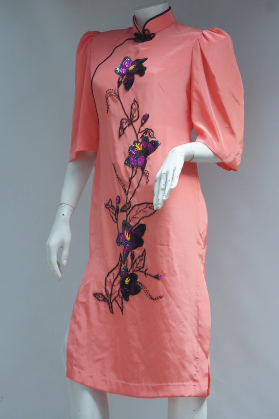 Vintage Embroidered Bead & Sequin Asian Cheongsam… - image 10