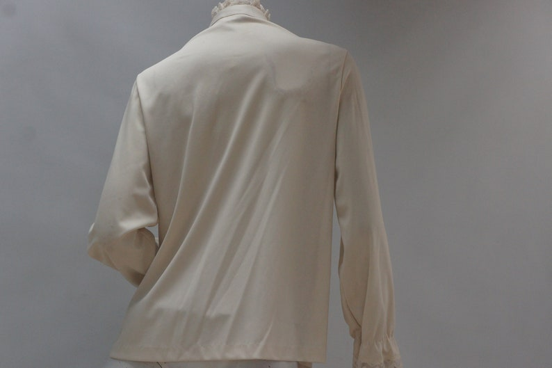 Vintage 60s-70s Lace Trim High Neck Blouse By Mardi Modes New YorkVictorian Style