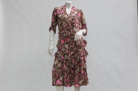 Vintage Antique 20s-30s Floral Print French Dress/