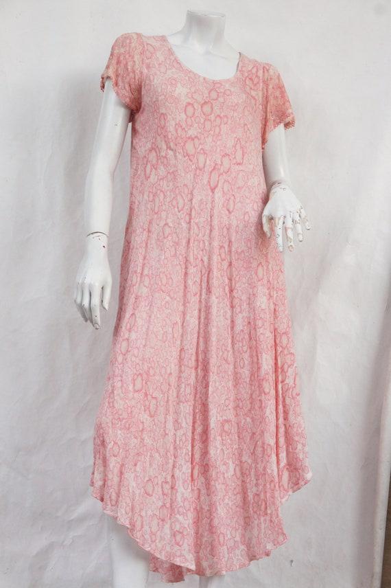 Vintage Pink Indian Tie Dye Maxi Dress/Boho/Hippie