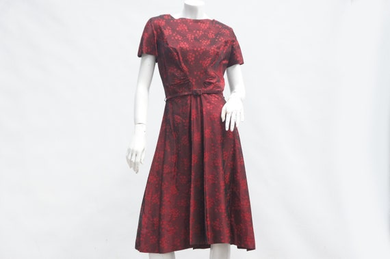 Vintage 40s-50s Belted Asian Floral Print Dress
