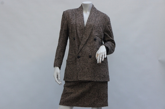 Vintage 80s women's Herringbone Tweed Suit/Skirt a