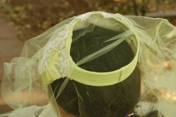 Vintage 50s Green Facinator Veil Hat/Wedding/High… - image 3