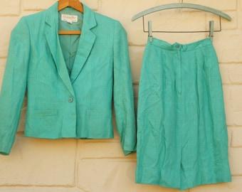 Jupe Christian Dior vintage des années 80-90 & veste tailleur haute couture Designer menthe vert Secrétaire