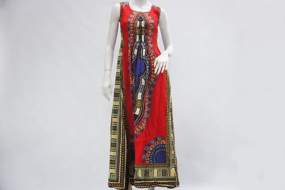 Vintage Daishiki Print Maxi Dress/Boho/Hippie