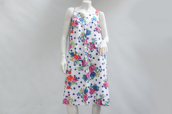 Vintage 70s Floral Print Sun Dress/House Dress/Pat