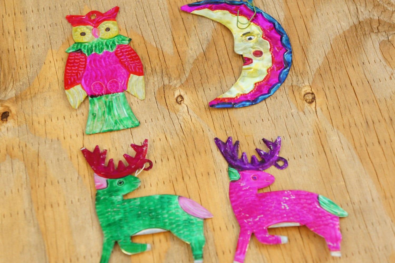 Vintage 90s Mexican Tin Ornaments /Owl/Reindeer/Moon/Bohemian | Etsy