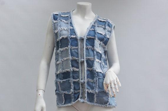 Vintage 70s Ptchwork Denim Vest/Jean Vest/Boho/Hi… - image 1