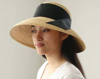 "Wide Curved Brim Straw Hat Casablanca Style ""Holly"""