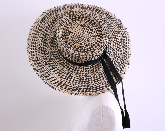"""Featured listing image: Raffia woven wide-brimmed boater """"Soleil"""""""