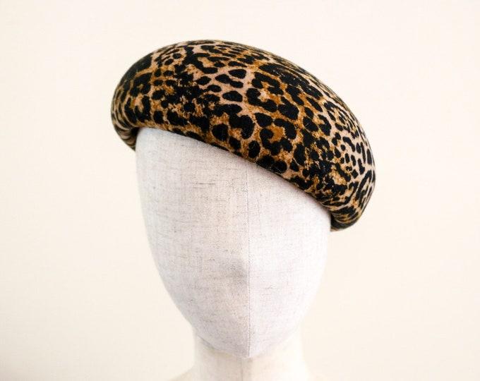 Featured listing image: Leopard printed wool felt beret