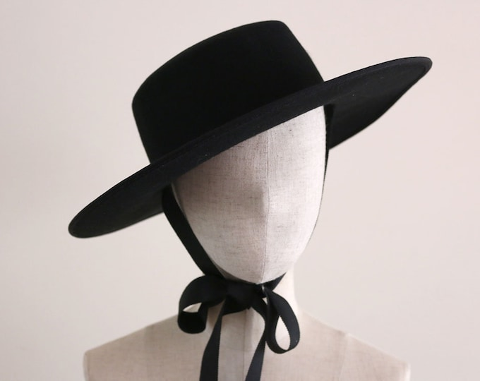 """Featured listing image: Black Wool Felt Boater Hat """"Fred Winter"""""""