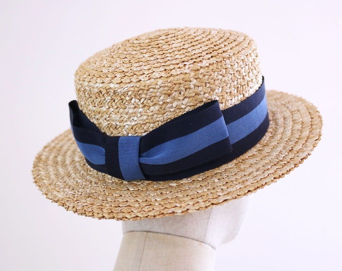 "Featured listing image: A classic boater hat ""NIKI Blue""  Navy x Blue ribbon exclusive for 2020"