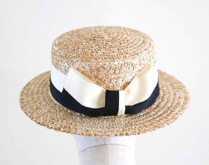 Featured listing image: A classic boater hat with two colour Grosgrain