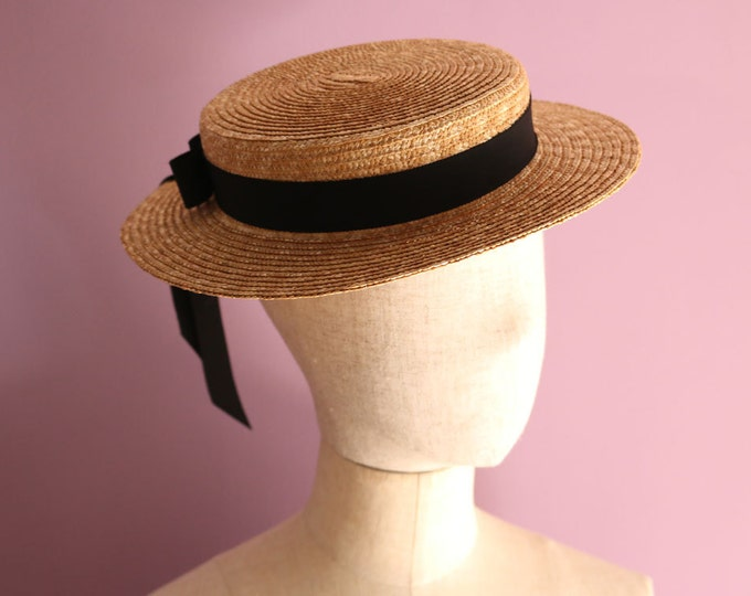 "Featured listing image: Straw Boater Hat ""Vivien"""