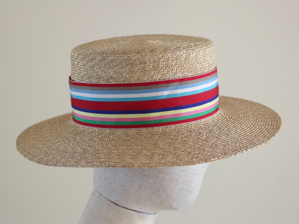 e8c4b46a09845f Straw Boater Hat Fred with Multi Coloured Ribbon