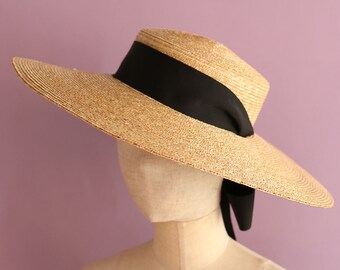 "Wide Brimmed Boater Hat with long ribbon ""Amal"""