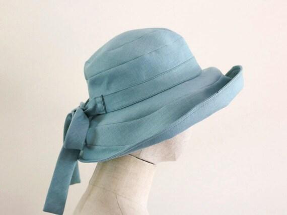 Mint green linen Capeline Wide Brimmed Hat