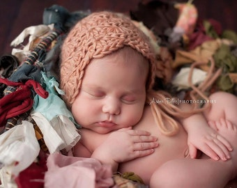 Crochet Baby Hat, Photography prop, Scalloped Bonnet, Newborn Photo Shoot Prop by Cream of the Prop