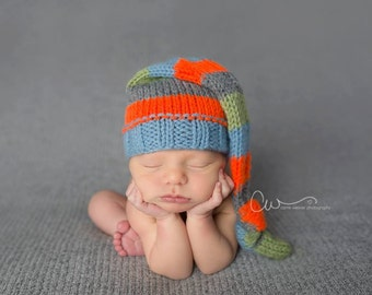 Knit Baby Hat, Photography Prop, Newborn Baby Hat, Photo Prop, Knit Photo prop, Photo Shoot Prop, Striped Hat, Pick your colors