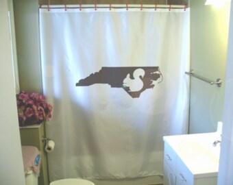 North Carolina Squirrel Shower Curtain NC State Animal USA Map America Bathroom Decor Kids Bath Curtains Custom Size Long Wide Waterproof