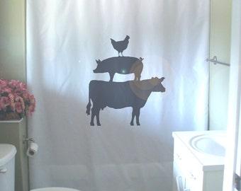 Animal Farm Shower Curtain Cow Chicken Pig Farmyard Farming Farmhouse Food Bathroom Decor Kids Curtains Custom Size Long Wide Waterproof