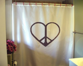 Peace And Love Shower Curtain Symbol Salaam Shalom Unity Family
