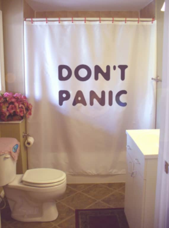 DONT PANIC shower curtain large friendly letter relax enjoy | Etsy