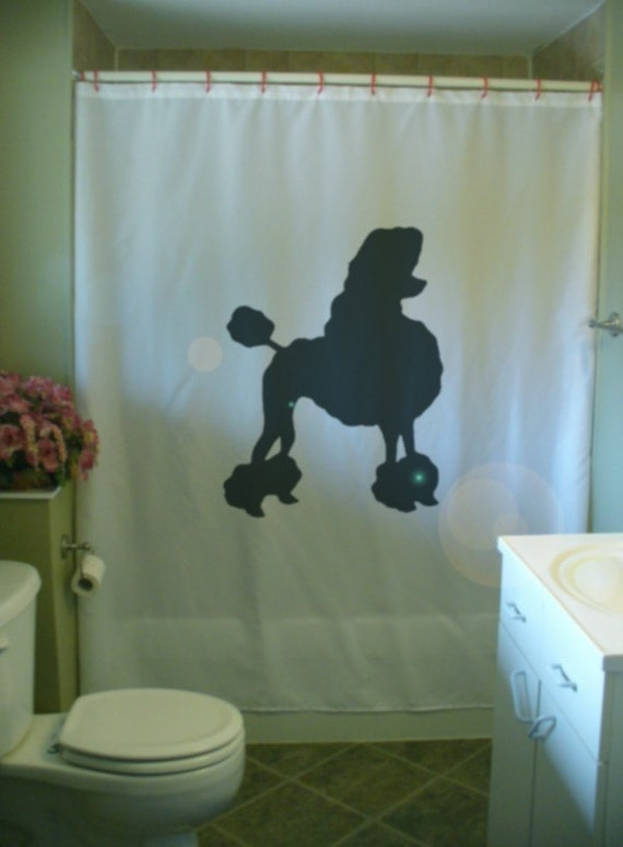 Poodle Shower Curtain Dog Silhouette Pet Pedigree Continental