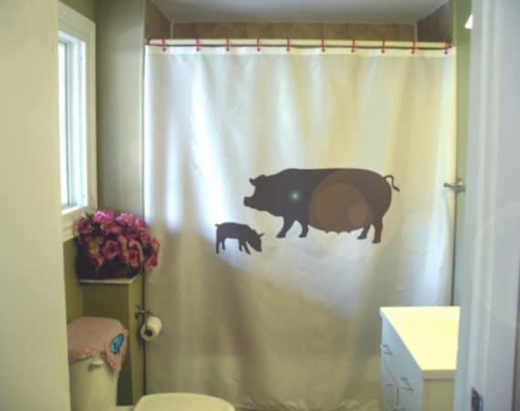 Sow And Piglet Shower Curtain Pig Farm Animal Farming Hog