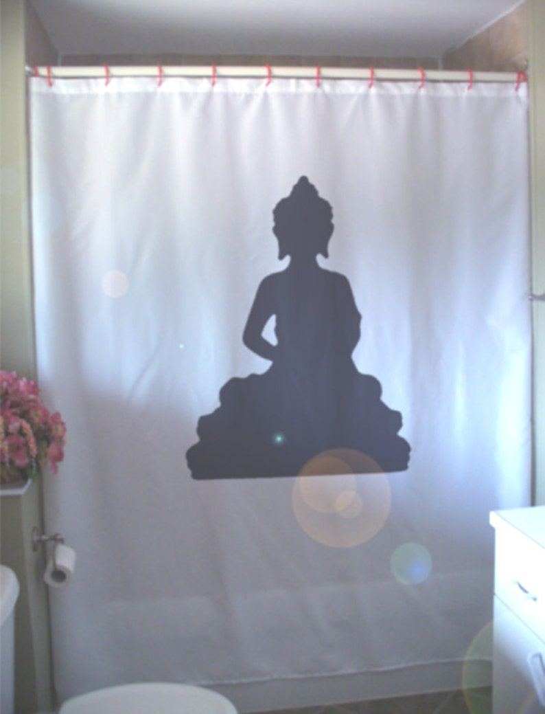 Buddha Statue Shower Curtain Buddhist Buddhism Sage Teacher