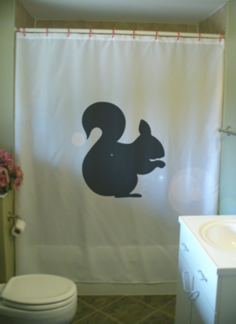 Squirrel Shower Curtain Tail Nut Nibble Frisky Cute Wild