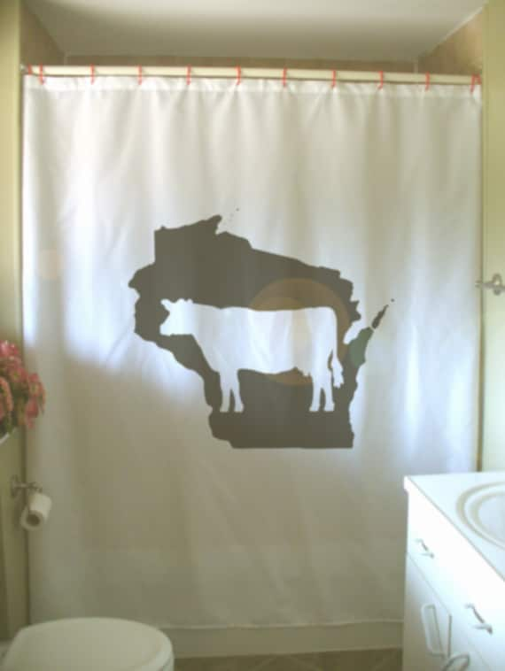 Wisconsin Dairy Cow Shower Curtain WI Map US State America USA