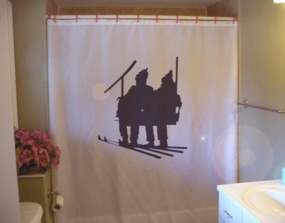 Ski Lift Skiers Shower Curtain Winter Sport Family Fun Skiing