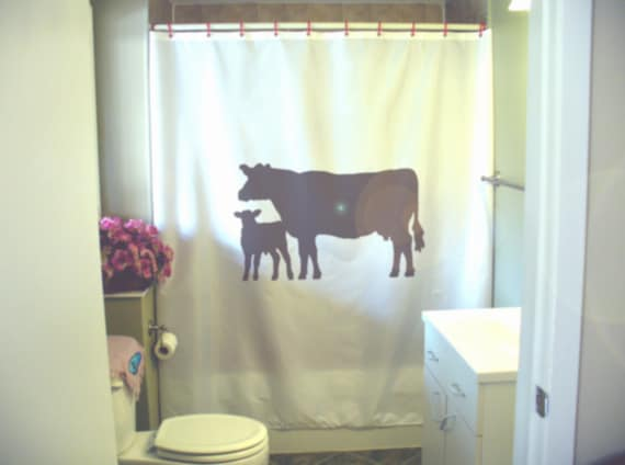 Cow Shower Curtain Farmhouse Calf Farm Baby Mother Child Herd