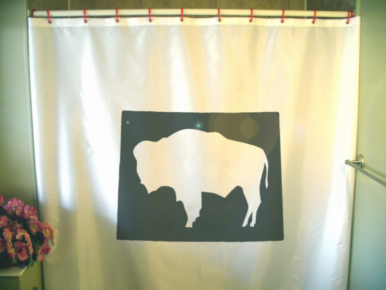 Wyoming Buffalo Shower Curtain WY Map US State America USA