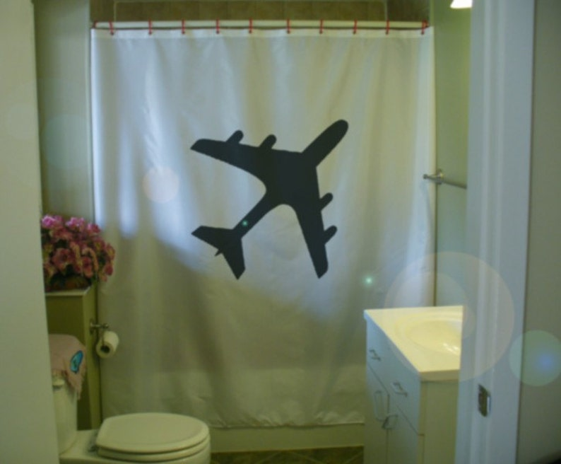 Airplane Shower Curtain Jumbo Jet Silhouette Plane Wing Engine Aeroplane Aircraft Fly Flight Bathroom Bath Curtains Custom Size Long Wide