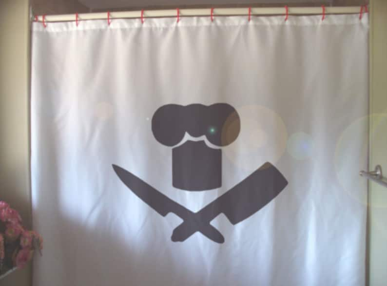 Chef Pirate Shower Curtain Hat Cross Blade Meat Cleaver Knife